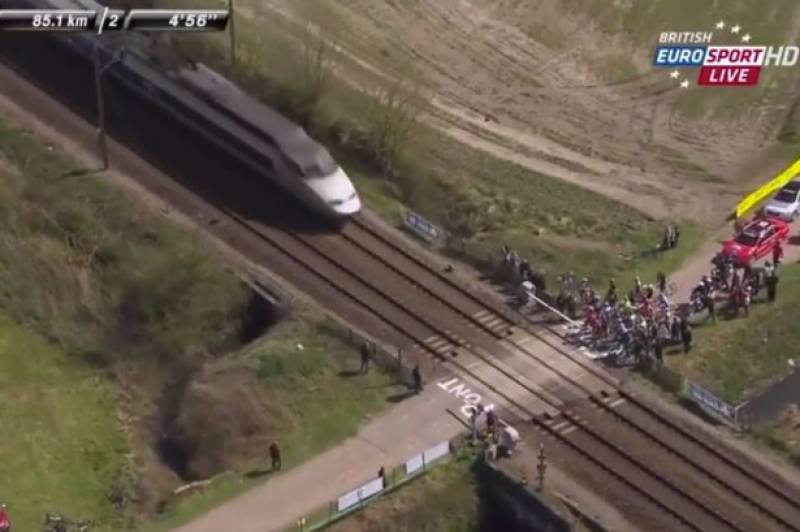 A CLOSE SHAVE: Cyclists just avoid high-speed train