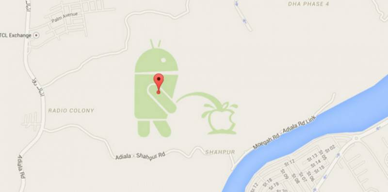 IN GOOGLE MAPS: Android pisses over Apple in Rawalpindi