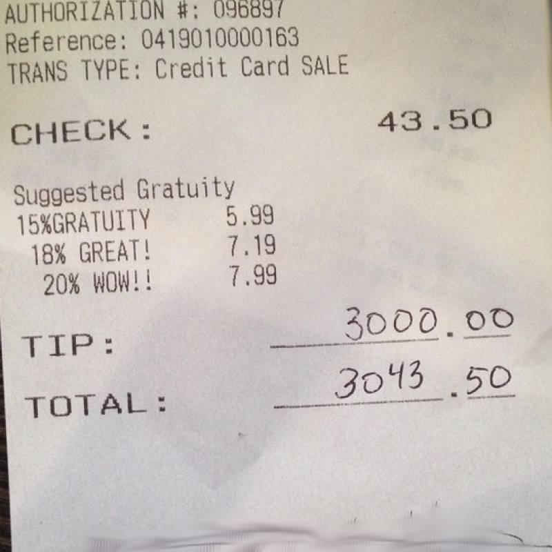 $3,000 tip for New York waitress