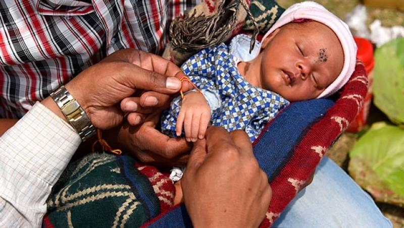 Newborn enjoys 'celebrity status' at Nepal's quake relief camp