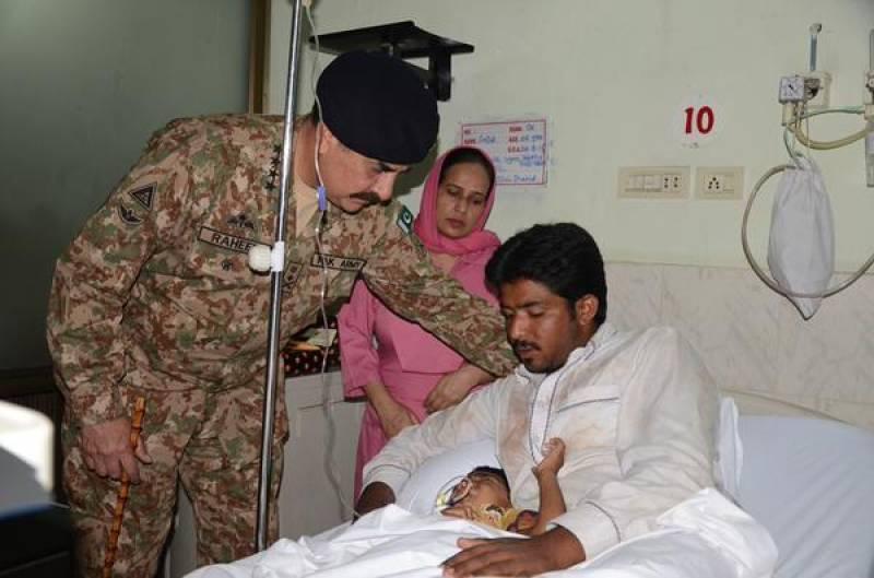 General Raheel visits civilians injured by Indian firing along LoC