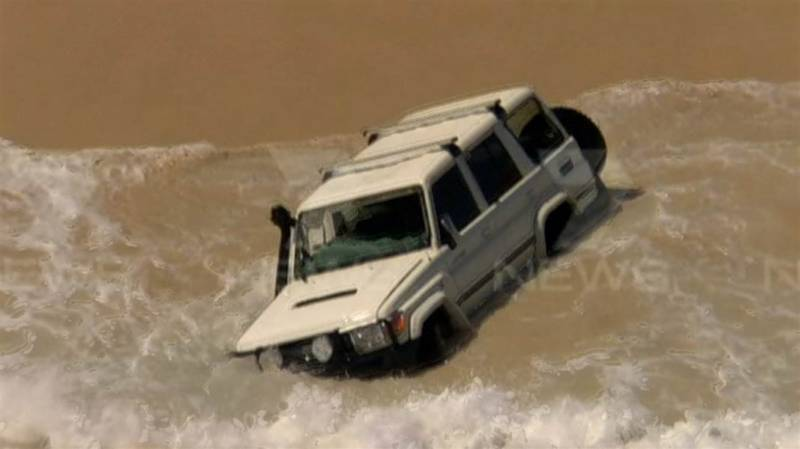 Watch: Police car chase ends in Indian Ocean