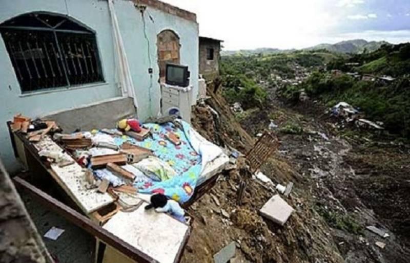 Landslide destroys houses in Abbottabad