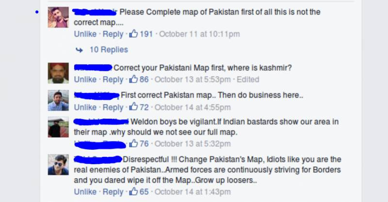 When a company published Pakistani map without Kashmir, this is how Pakistanis reacted