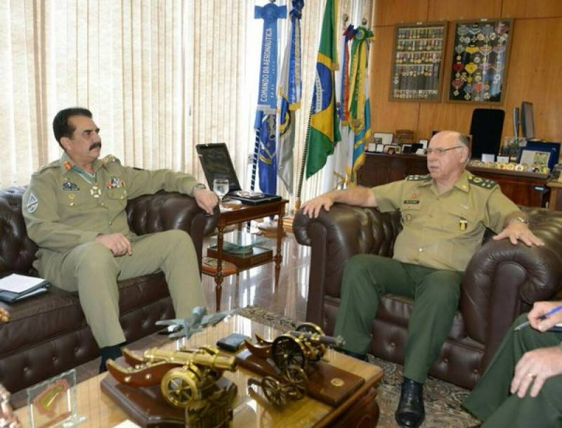 Gen Raheel Sharif discusses security challenges with Brazilian military chief
