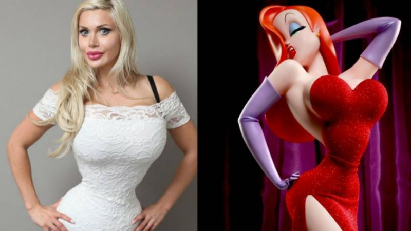 What a waist! Model has RIBS removed to look like a cartoon character
