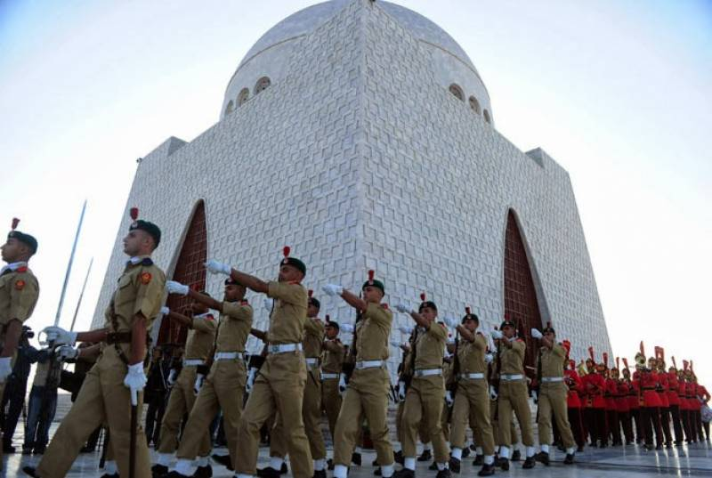 Guards change ceremony held at Jinnah's mausoleum