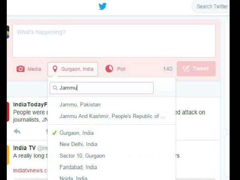 Jammu in Pakistan, Jammu & Kashmir in China, shows Twitter