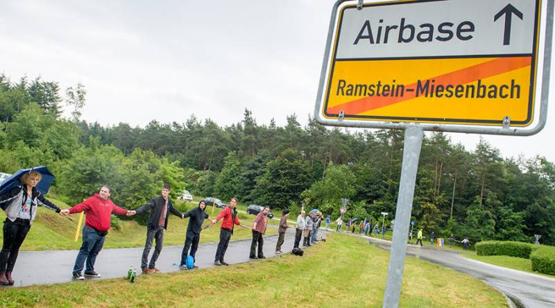 Thousands protest against drone attacks near US base in Germany