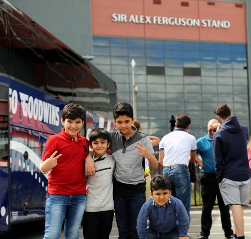 Lovely snaps of Pakistani cricketers taking families to tour the iconic home of Manchester United