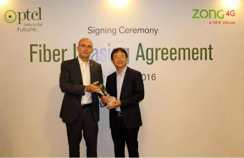 PTCL, ZONG sign Fiber Optic Leasing Agreement