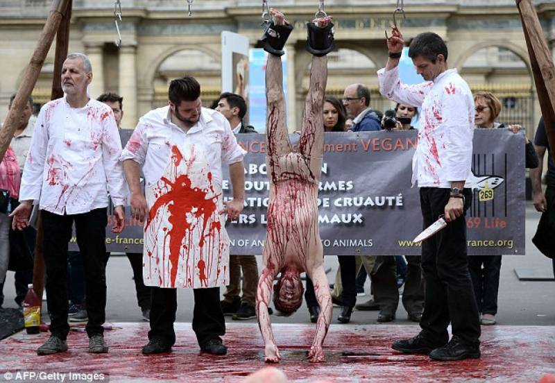 Vegan activists in France receive burns on their bodies as protest