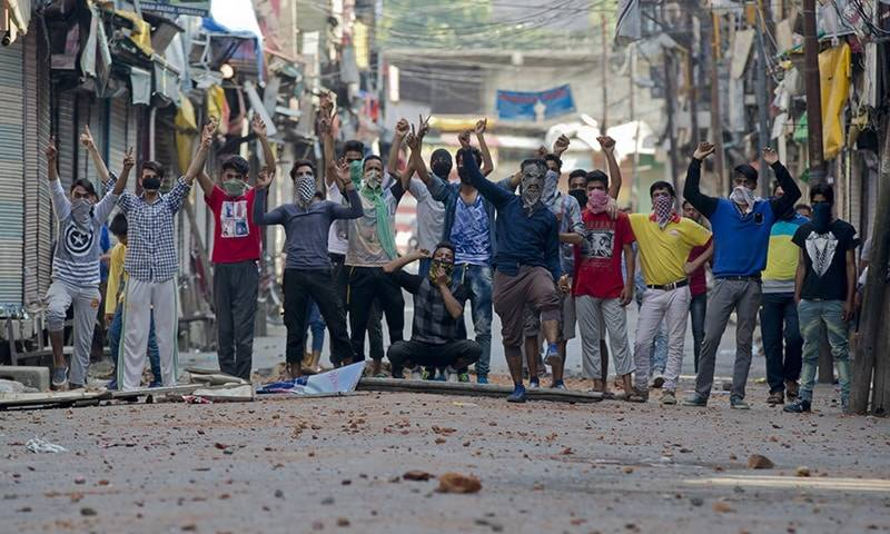 Two youth killed in anti India protest in occupied Kashmir amid complete shutdown in all districts