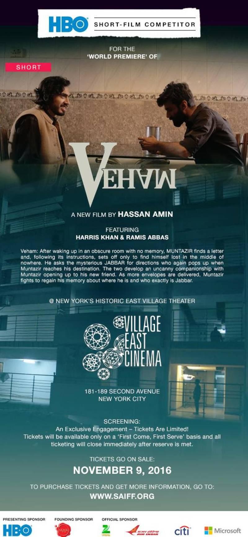 Pakistani musician & filmmaker Hassan Amin's movie 'Veham' will be premiering at the South Asian International Film Festival