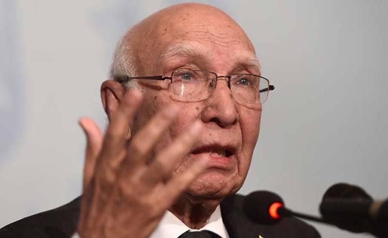Pakistan pursuing policy of peaceful neighbourhood: Sartaj Aziz
