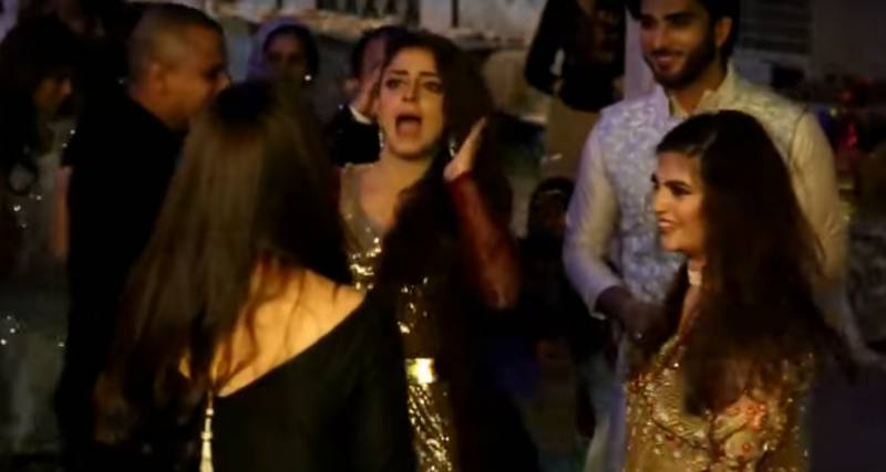 TV Actresses Sanam Chaudhry & Maya Ali 'crazy dance' to Bollywood tunes on Muneeb & Aiman's Engagement [Watch Video]