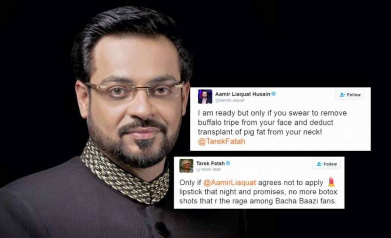 Tarek Fatah makes fun of Aamir Liaquat, immediately regrets it after savage reply