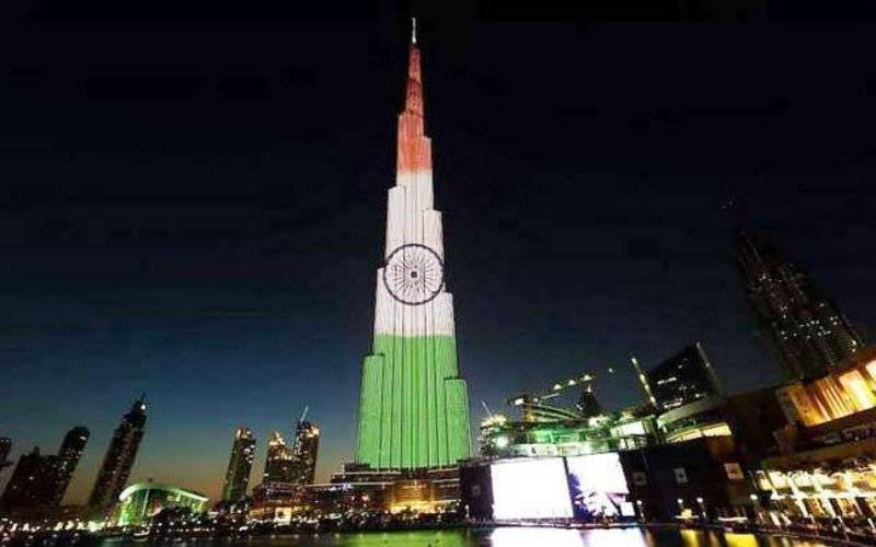 Why is UAE's Burj Khalifa showing Indian colors?