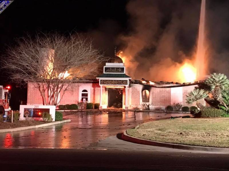 Texas mosque set on fire, 'completely destroyed'
