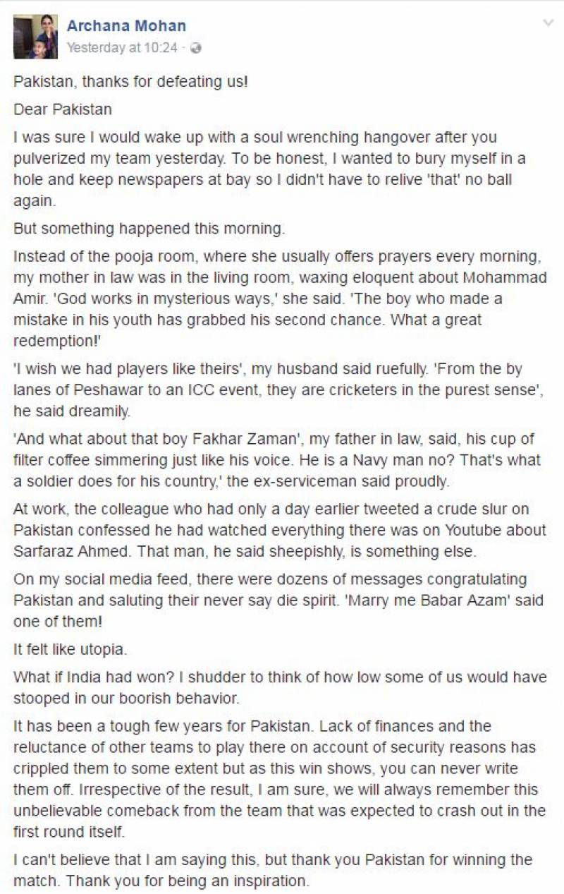 An Indian woman wrote a BEAUTIFUL 'open letter' to the Pakistani Cricket Team after their win
