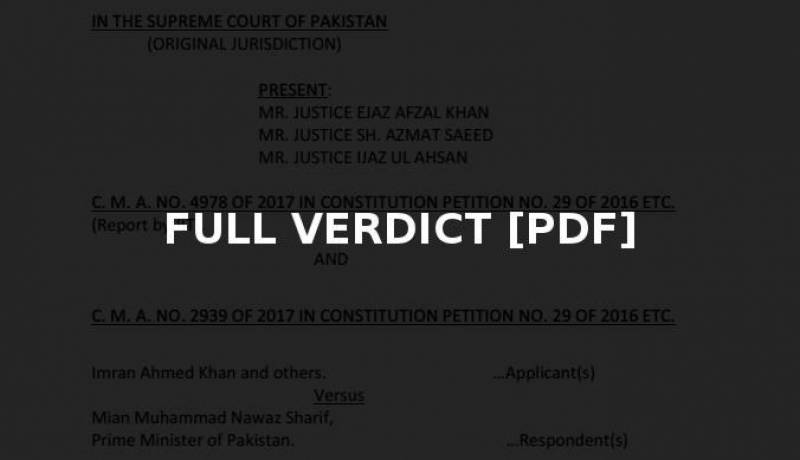 Full text of Panama case verdict released by Supreme Court