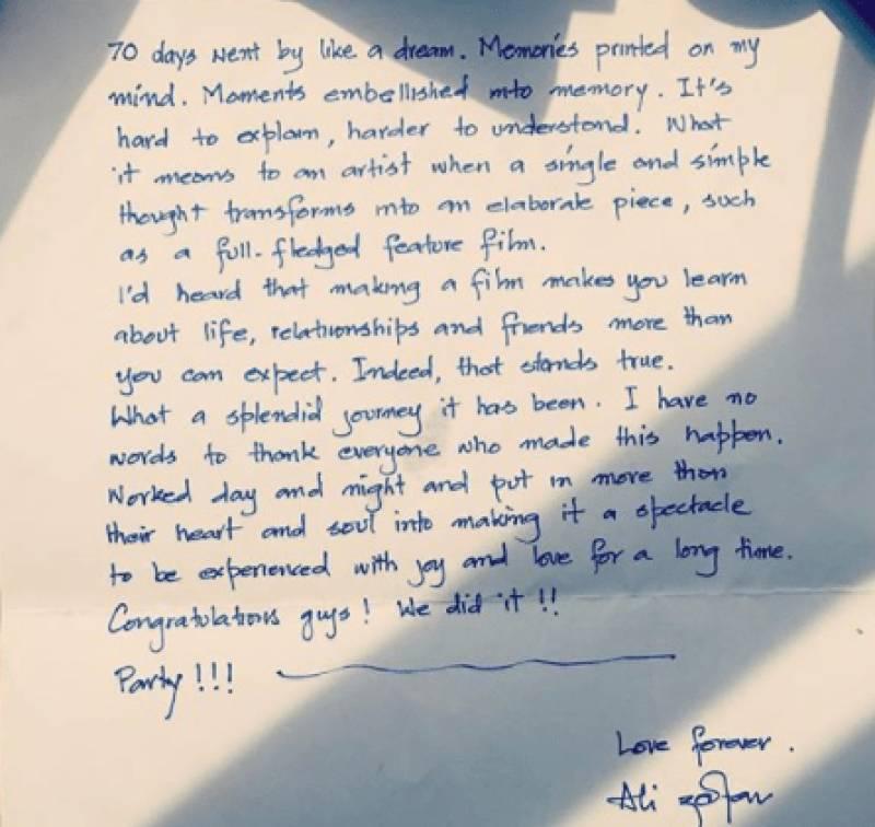 Ali Zafar writes heart-felt letter addressed to 'Team Teefa'