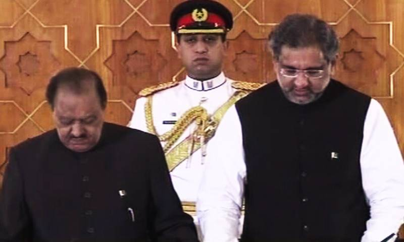 Shahid Khaqan Abbasi takes oath as 18th prime minister of Pakistan