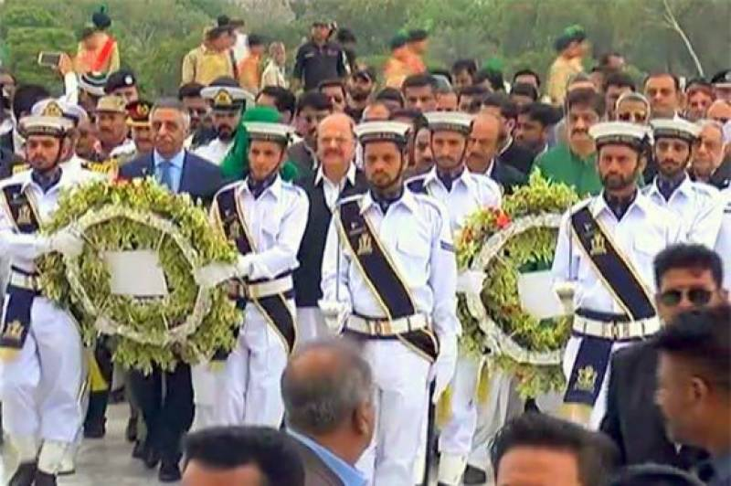 Change of Guards ceremonies held at Quaid, Iqbal's mausoleums