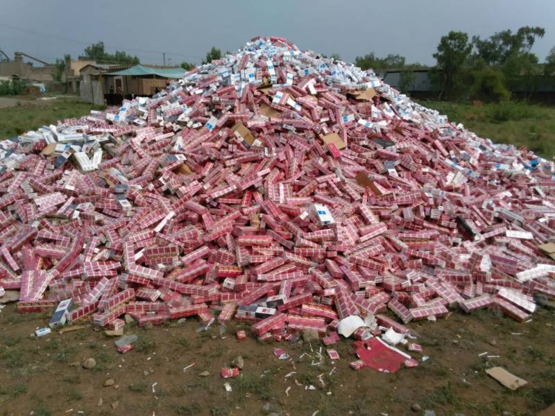 Biggest ever haul of illegal cigarettes seized in Peshawar
