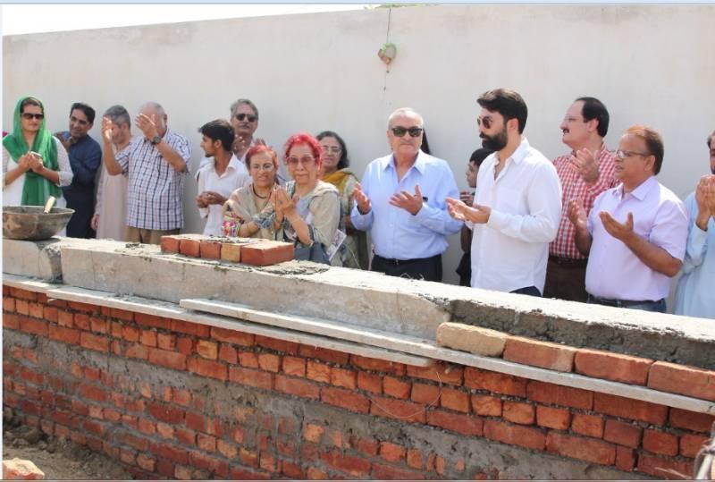 Major Aziz Bhatti Shaheed's son lays foundation stone of Green Earth Roshni School's new building