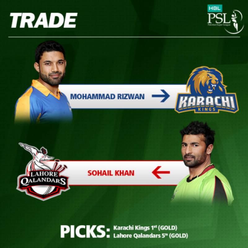 PSL3: Karachi Kings trades Muhammad Rizwan for Sohail Khan with Lahore Qalandars