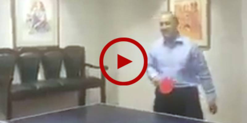 IG Sindh AD Khawaja enjoys table tennis with colleague