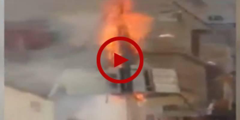 Electric pole catches fire in Karachi
