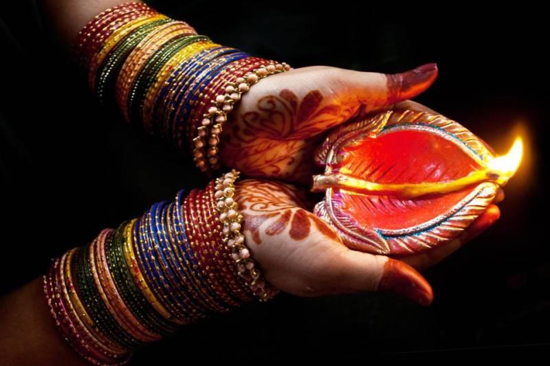 Hindu community celebrating Diwali