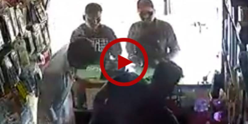 CCTV footage of mobile shop robbery in Karachi