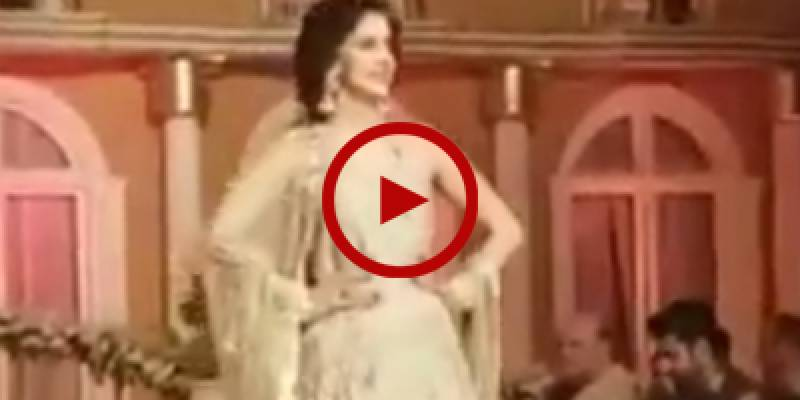 Saba Qamar trips on catwalk during fashion show
