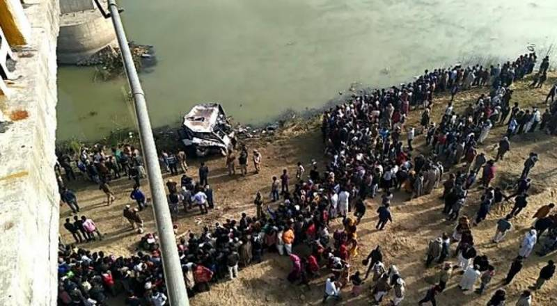 At least 33 drown after bus plunges into river in India