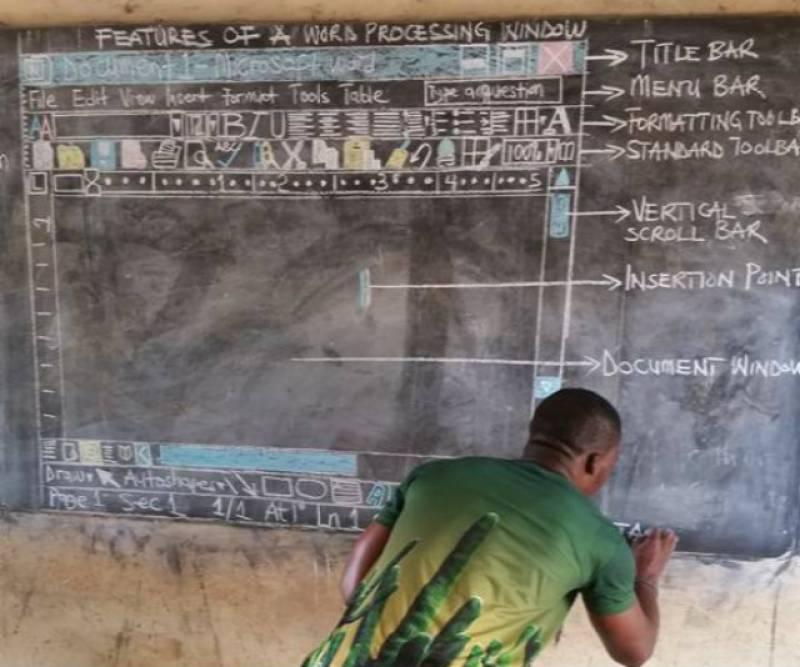 This African teacher uses blackboard to teach Microsoft Word