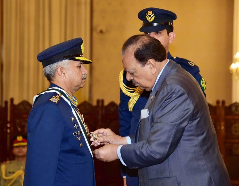 President confers 'Nishan-e-Imtiaz Military' on Air Chief Marshal Mujahid Anwar