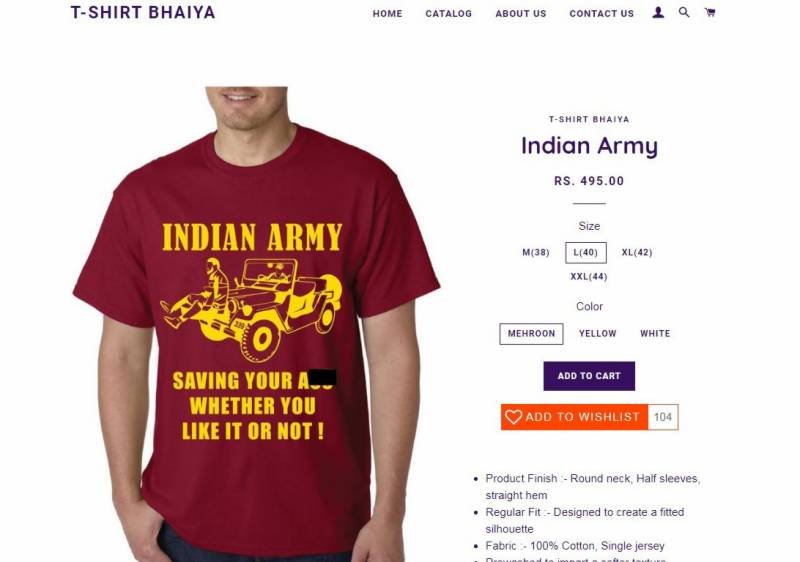 Indian T-Shirt company proud of Indian Army's human rights violations, designs controversial shirt