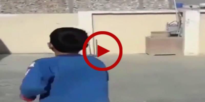 Raw talent: Pakistani child shows off his swing bowling skills