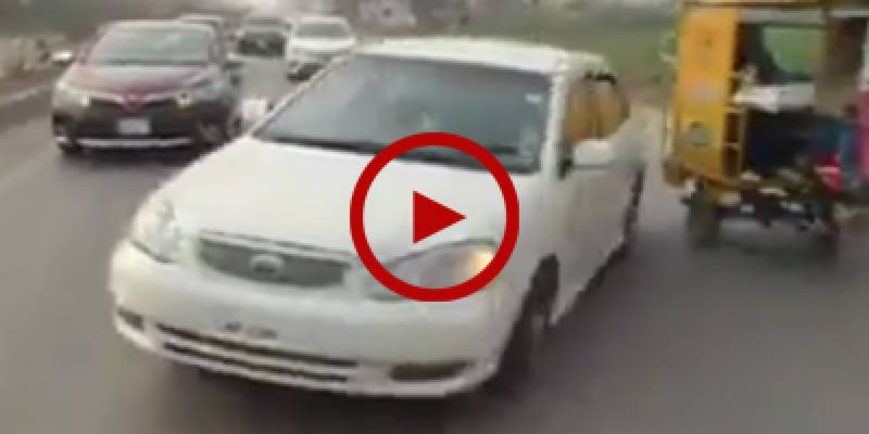 Car veers off course as Pakistani driver pulls a stunt (Video)