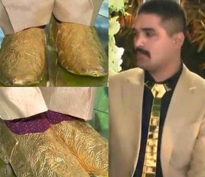Gold edition: Lahori groom wears gold shoes to his wedding