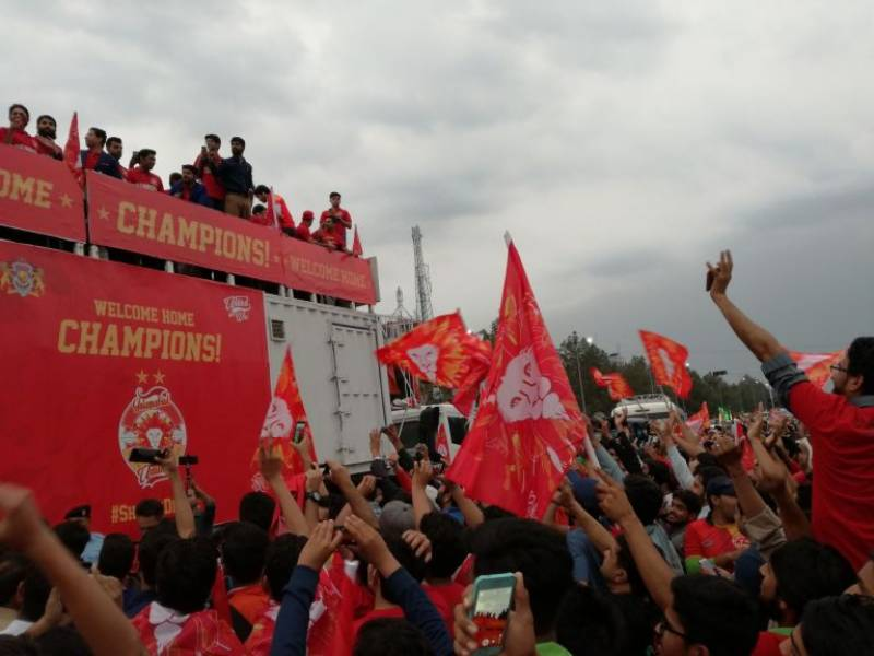 Celebratory parade takes place to welcome the champions of PSL' 18, Islamabad United