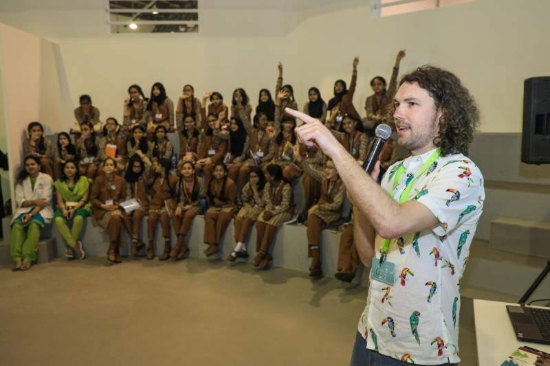 Karl Newson lead youngsters through the storytelling and making process at SCRF 2018