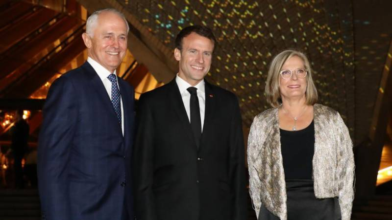 French President Macron thanks Aussie PM and his 'delicious' wife