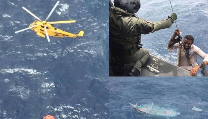 Pakistan Navy rescues 11 fishermen after Iranian boat sinks in Arabian Sea