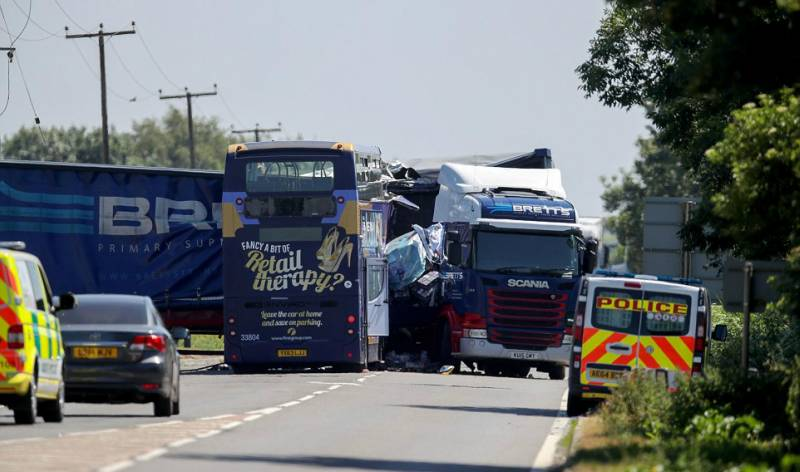 Two dead, 18 injured after double-decker bus and lorry collide in UK