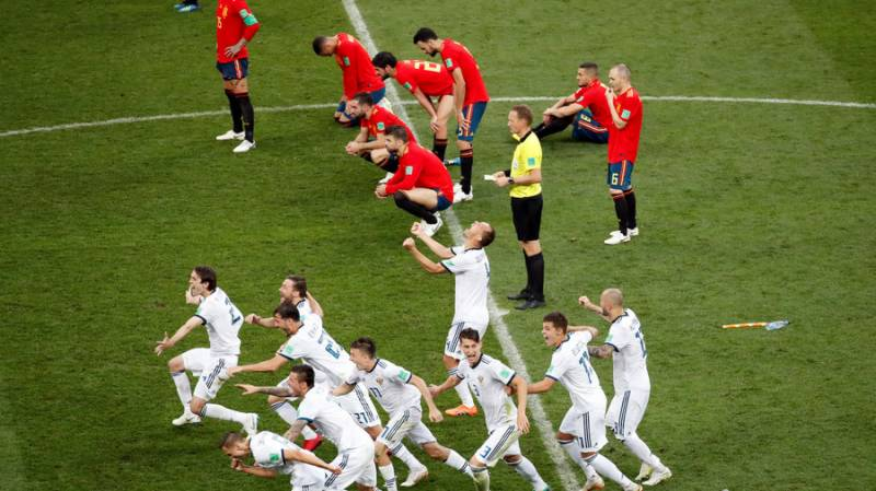 Russia makes history by rushing Spain 4-3 in penalty shootout