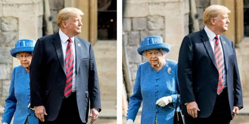 Social media is furious at Trump's behaviour with the Queen, see for yourself